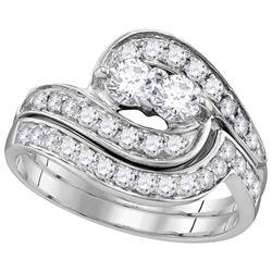 10kt White Gold Womens Round Diamond 2-Stone Hearts Tog