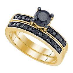 10K Yellow-gold 1.05CTW BLACK DIAMOND MICRO-PAVE BRIDAL