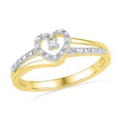 10K Yellow-gold 0.06CTW DIAMOND FASHION HEART RING