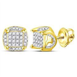 10kt Yellow Gold Mens Round Diamond Cluster Stud Earrin