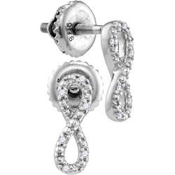 Sterling Silver Womens Round Diamond Vertical Infinity