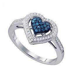 10KT White Gold 0.25CT BLUE DIAMOND HEART RING