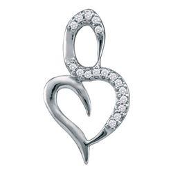10KT White Gold 0.05CTW-DIAMOND HEART PENDANT