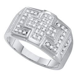 10KT White Gold 0.33CTW DIAMOND MICRO PAVE MENS RING