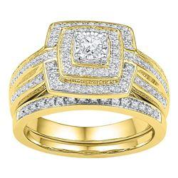 10kt Yellow Gold Womens Round Diamond Bridal Wedding En