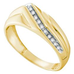 10K Yellow-gold 0.12CT DIAMOND CLUSTER MENS RING