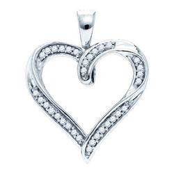 10KT White Gold 0.10CTW DIAMOND MICRO-PAVE HEART PENDAN