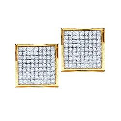14kt Yellow Gold Womens Round Pave-set Diamond Square C
