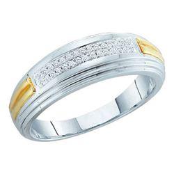 10KT White Gold Two Tone 0.10CT DIAMOND FASHION MENS BA