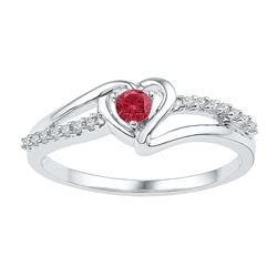 Sterling Silver Womens Round Lab-Created Ruby Solitaire