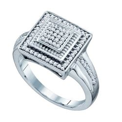 10KT White Gold 0.22CTW DIAMOND MICRO PAVE RING