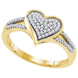 10K Yellow-gold 0.19CTW DIAMOND MOCRO-PAVE HEART RING