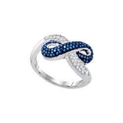 10kt White Gold Womens Round Blue Colored Diamond Infin