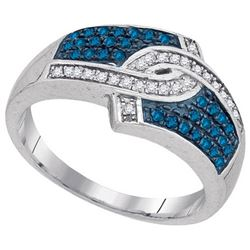 10KT White Gold 0.33CTW BLUE DAIMOND FASHION RING