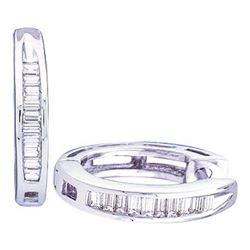 925 Sterling Silver White 0.15CTW DIAMOND FASHION HOOPS