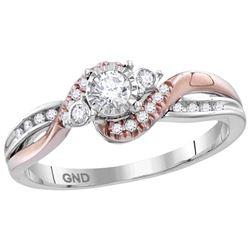 14kt White Rose-tone Gold Womens Round Diamond Solitair