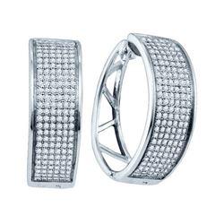 925 Sterling Silver White 0.91CTW DIAMOND MICRO PAVE EA