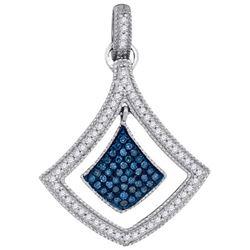 10KT White Gold 0.25CTW BLUE DIAMOND MICRO-PAVE PENDANT