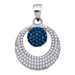 14K White-gold 0.40CTW BLUE DIAMOND MICRO-PAVE PENDANT