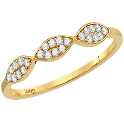 10kt Yellow Gold Womens Round Diamond Oval Cluster Stac