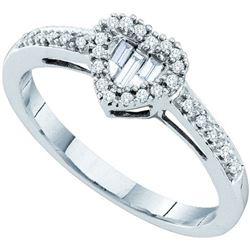 14KT White Gold 0.15CTW DIAMOND LADIES FASHION HEART RI