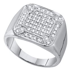 10KT White Gold 0.33CT DIAMOND MICRO PAVE MENS RING