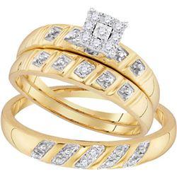 10K Yellow-gold 0.13CTW DIAMOND FASHION TRIO-SET