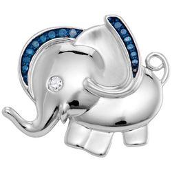 Sterling Silver Womens Blue Colored Diamond Elephant Fa