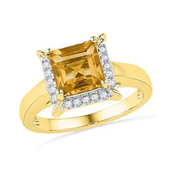 10kt Yellow Gold Womens Cushion Lab-Created Citrine Sol