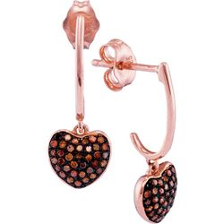 10KT Rose Gold 0.25CTW RED DIAMOND MICRO-PAVE EARRING
