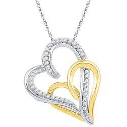 10kt White Gold Womens Round Diamond Two-tone Double Jo