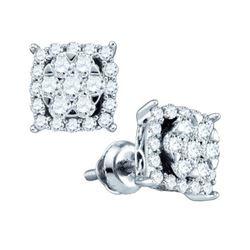 10KT White Gold 0.62CTW DIAMOND LADIES SQUARE EARRINGS