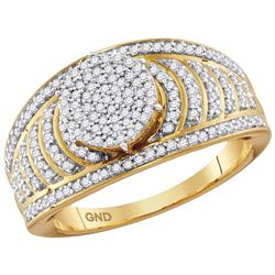 10kt Yellow Gold Womens Round Diamond Cluster Striped B