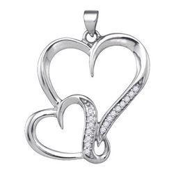 925 Sterling Silver White 0.10CTW DIAMOND HEART PENDANT