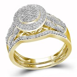 Bridal 10K Yellow Gold Flower Cluster Diamond Wedding E