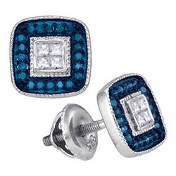 10KT White Gold 0.33CTW BLUE DIAMOND MICRO-PAVE EARRING