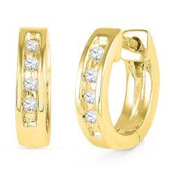 10K Yellow-gold 0.06CTW DIAMOND HOOPS EARRING