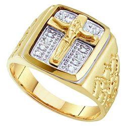 10K Yellow-gold 0.01CTW ROUND DIAMOND MENS CROSS FASHIO