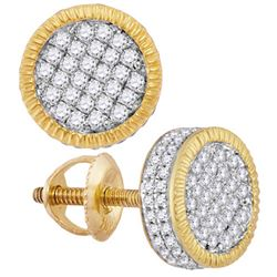 10kt Yellow Gold Mens Round Diamond 3d Circle Cluster S
