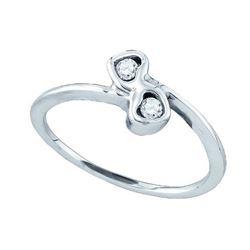 925 Sterling Silver White 0.05CTW DIAMOND HEART EARRING