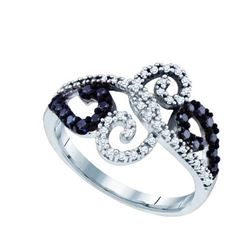 14KT White Gold 0.33CT BLACK DIAMOND MICRO PAVE RING