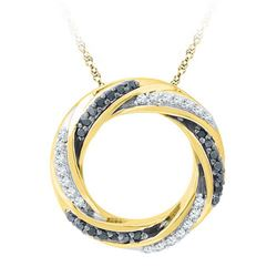 10K Yellow-gold 0.25CTW BLACK DIAMOND FASHION PENDANT