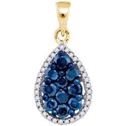 10K Yellow-gold 0.81CTW DIAMOND BLUE STAR PENDANT