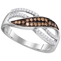 10KT White Gold 0.33CTW COGNAC DIAMOND FASHION RING