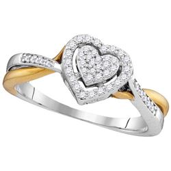 10KT White Gold Two Tone 0.21CTW DIAMOND HEART RING