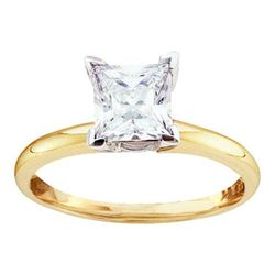 14KT Yellow Gold Two Tone 1/4CTW PRINCESS DIAMOND SOLIT