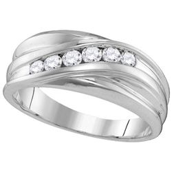 10KT White Gold 0.33CTW-Diamond MENS FASHION BAND