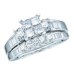10KT White Gold 0.53CT DIAMOND CENTER PRINCESS BRIDAL S