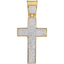 10kt Yellow Gold Mens Round Diamond Symmetrical Christi