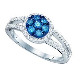10KT White Gold 0.48CTW BLUE DIAMOND FASHION RING